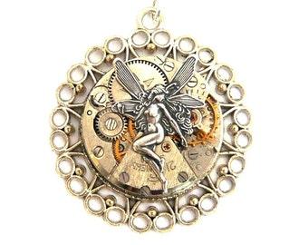 steampunk fairy do on mechanism watch watch silver necklace