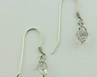 Herkimer Diamond Earrings, Herkimer Diamond Crystal Rough in Sterling Silver Wire Earrings, French Hooks