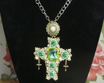 Baroque Huge Cross Green Rhinestones Pendant Necklace