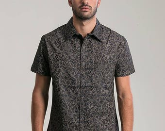 Lsd Molecule Mens Button Up Shirt Psychedelic All Over Print Short Sleeve Button Down Shirt Unique Mens Clothing HEswd