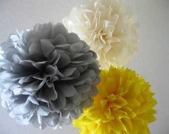 30 tissue Paper Poms - Your Color Choice- SALE - Wedding - Shower - Nursery - Ceremony Decorations