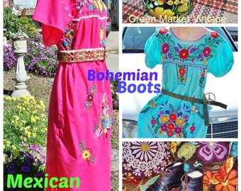 Mexican Dress, Embroidered, Turquoise, Frida, Blue, Cinco de Mayo, size S / M