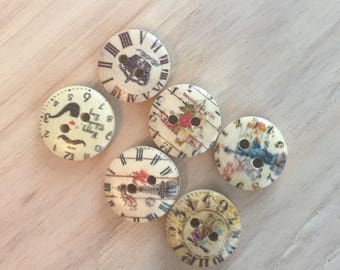 7-15mm with 2 holes wood buttons