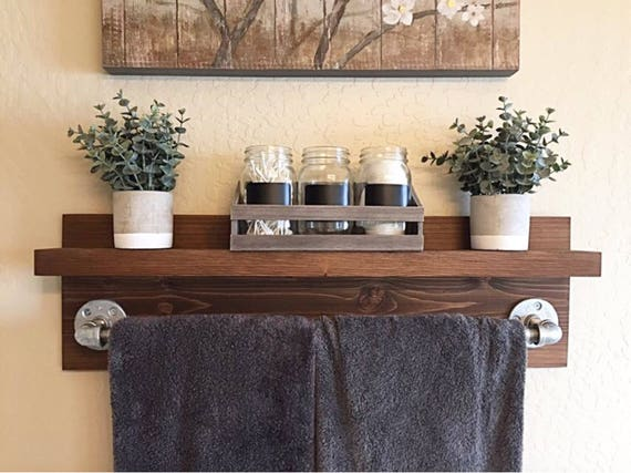 Decorative Bathroom Accessories For Hotel Project: Rustic Industrial Bath Towel Rack Bathroom Shelf Rustic Home