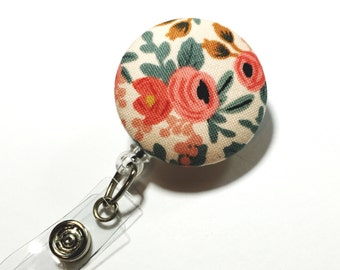 Rifle paper co coral floral badge reel flower id badge holder retractable badge holder nurse badge reel badge reels name badge holder