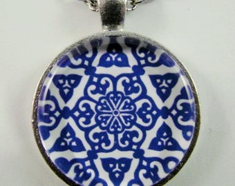 BLUE GRANADA Necklace -- Geometric beauty, Arabic design necklace, Detail from hand-painted Spanish tile, Friendship token