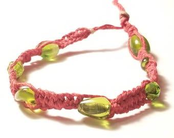 Red hemp bracelet with green beads