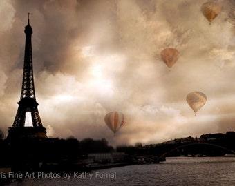 Paris Photography, Eiffel Tower Hot Air Balloons, Paris Sepia Eiffel Tower Prints, Paris Wall Art Prints, Eiffel Tower Sepia Fine Art Prints