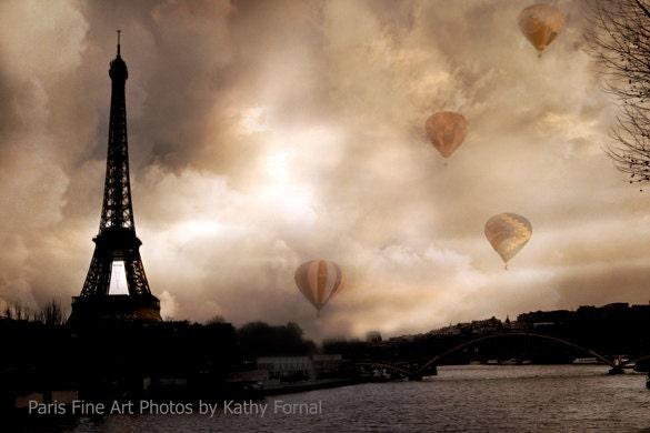 Paris Photography Eiffel Tower Hot Air Balloons Paris Sepia