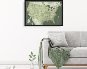 USA travel map with pins / United States map / Push Pin travel map / Personalized push pin travel map / framed travel map