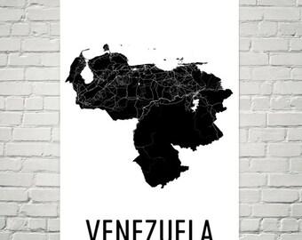 Venezuela Map, Map of Venezuela, Venezuelan Art, Venezuela Poster, Venezuela Wall Art, Venezuela Poster, Venezuelan Gifts, Venezuelan Decor