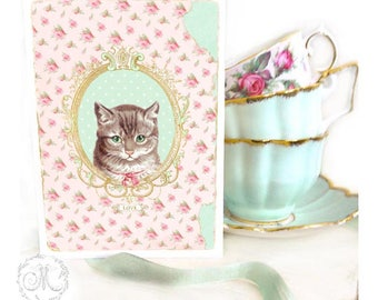 Cat card, with love, vintage style, Tabby cat, birthday card, friendship card, blank all occasion card