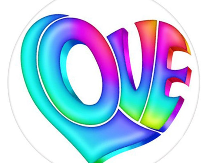 Love Snap - Colorful Love Snap - Compatible with Gingersnaps - - Ginger Snaps -  Magnolia and Vine - Noosa 18-20mm Base - Enamel Snap