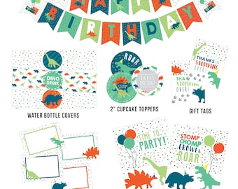 Dinosaur Party Printables, Dinosaur Digital Decorations, Dinosaur Banner, Favor, Cupcake Toppers, Wrappers, Food Labels, Party SIgns