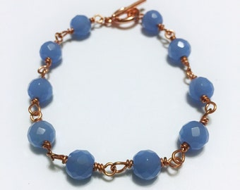 Periwinkle copper wire linked beaded bracelet wire wrapped bracelet elegant fashion bracelet gift-for-her wire wrapped jewelry