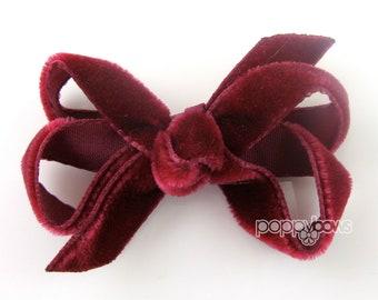 """Small 2"""" Burgundy Velvet Hair Bow, baby velvet hair bow, newborn hair bow, infant hair bow, dark red wine, boutique bow, christmas hair bow"""