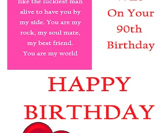 Wife 90 Birthday Card with removable laminate
