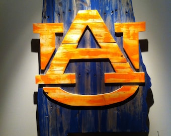 Wooden State of Alabama with Auburn logo