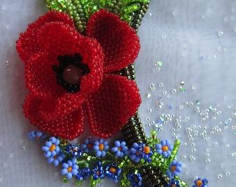 Ukrainian jewelry.  Ukrainian necklace. Ukrainian handmade . Beaded jewelry. Poppy
