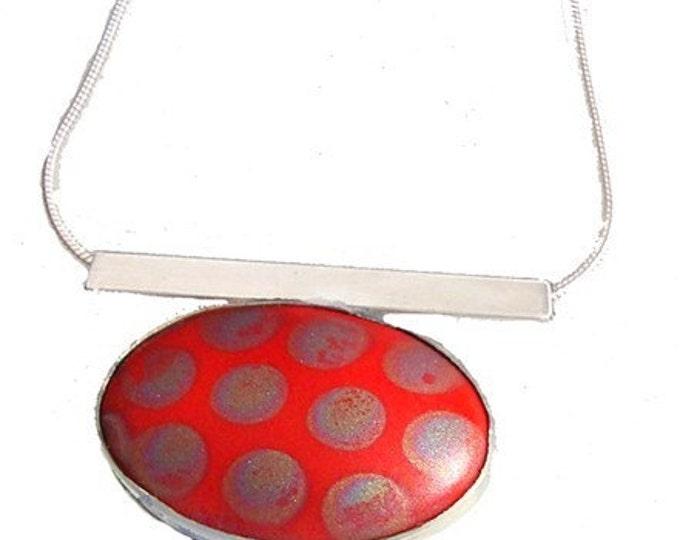 Vintage Porcelain Tile silver Pendant in Red