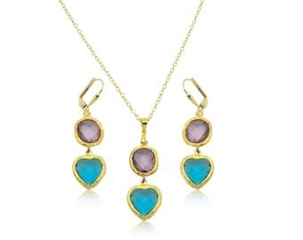 Purple amethyst earrings, Aqua gem earrings, Purple crystal earrings, Crystal statement earrings, Bridal crystal earrings, Heart earrings