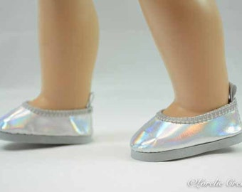 "Luciana Cinderella ""Glass""SILVER ""Leather"" Ballerina flats SHOES Slippers for American Girl or 18 inch doll"