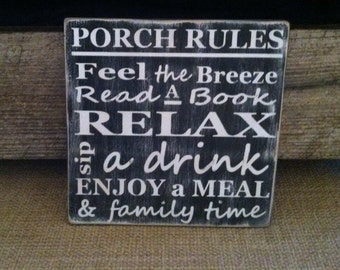 12x12 porch rules sign- handmade