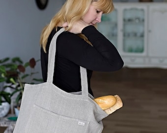 Linen Tote Bag - Canvas Bag - Natural Linen Bag - Washed Linen Bag - Big Market Bag - Beach Bag - Handmade linen bag
