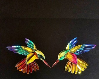 Custom Shop Left and right GST-9 Dichroic Stained Glass Hummingbird Bevel Clusters FREE shipping Worldwide