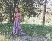 Girls Long Tulip Cut Infinity Twirl Dress~  Custom Choose Color- Shown in Swan Lake Heather~ Child's Flower girl dress