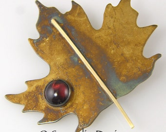 Maple Leaf Pin Brooch, Garnet Patina Sterling Silver Maple Leaf Pin, January Birthstone, Canada Maple Leaf, 14 Karat Goldfill