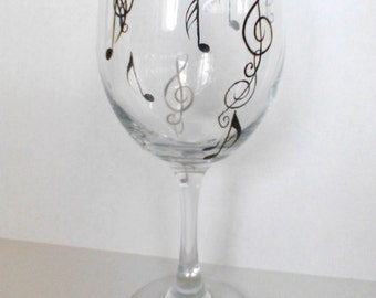 Music  Hand Painted Wine Glasses