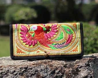 BiFold Embroidered Women's Wallet,  Wallet, Wallet Women's, iPhone wallet , Hmong Wallet, Hill Tribe Wallet Hippie Wallet, Boho Purse Yellow