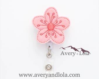 Cherry Blossom Badge Reel, Flower Badge Reel, Cherry Blossom ID Holder, Flower ID Holder, ID Badge Holder, Nurse Gift, Teacher Gift