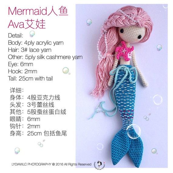 English: Crochet Doll Pattern-Mermaid-Ava艾娃. A crochet doll