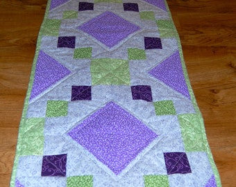 Spring/Easter Quilted Table Runner in Purple and Green