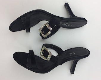 Vintage 90's black satin jeweled crystal buckle heeled strappy mules
