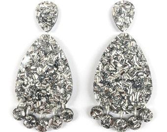 Super Lush Drop Earrings - Silver Riot - Laser Cut Glitter Drops - Each To Own