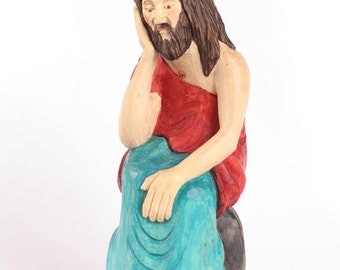 Jesus wood carving; Jesus Christ hand carved; Religous decoration for home;