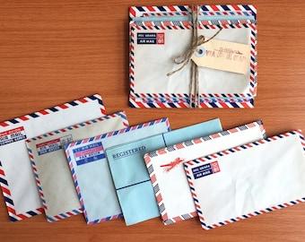 Set of 12 Vintage Envelopes. Sampler Set. Airmail. Ephemera.