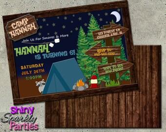 CAMPING BIRTHDAY INVITATION - Camping Birthday Party Invite - Sleepover Birthday Invitation -  Camping Invitation - Camping Invite Camp In