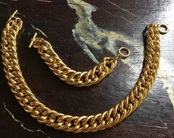 Gold tone chain link necklace and bracelet,circa 1970s