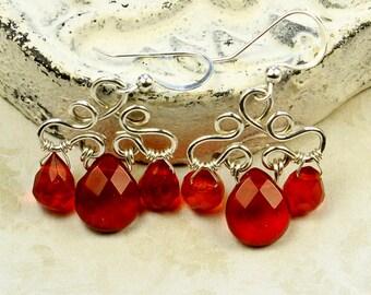 Red Crystal Earrings, Sterling Silver Earrings, Red Quartz Earrings, Red Cluster Earrings,Garnet Red Briolette, Elegant Red Drop Earrings