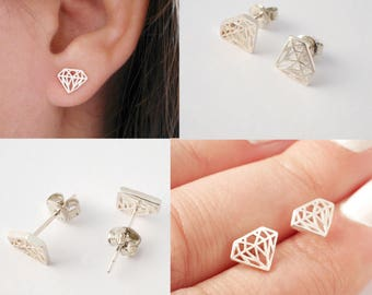 Sterling silver diamond stud earrings - Tiny diamand stud - silver earstud - lasercut diamond earrings - christmas gift for her - geometric