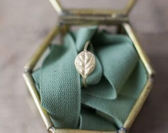 18k gold, leaf textured, ring. Handmade leaf ring.