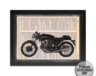 Ducati Motorcycle Art Print on Vintage Dictionary Paper - 8x10.5 - Mixed Media Dictionary Art Print