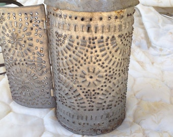 Primitive Rustic Punched Tin Lantern from Massachussettes - Paul Revere Style - Late 1800's - early 1900's