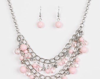 Beaded necklace set pink