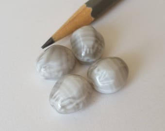 Vintage gray glass beads shell shape
