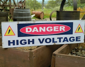 """Man Cave Distressed Primitive Country Wood Sign - The High Voltage Halloween sign  5.5"""" x 19"""""""